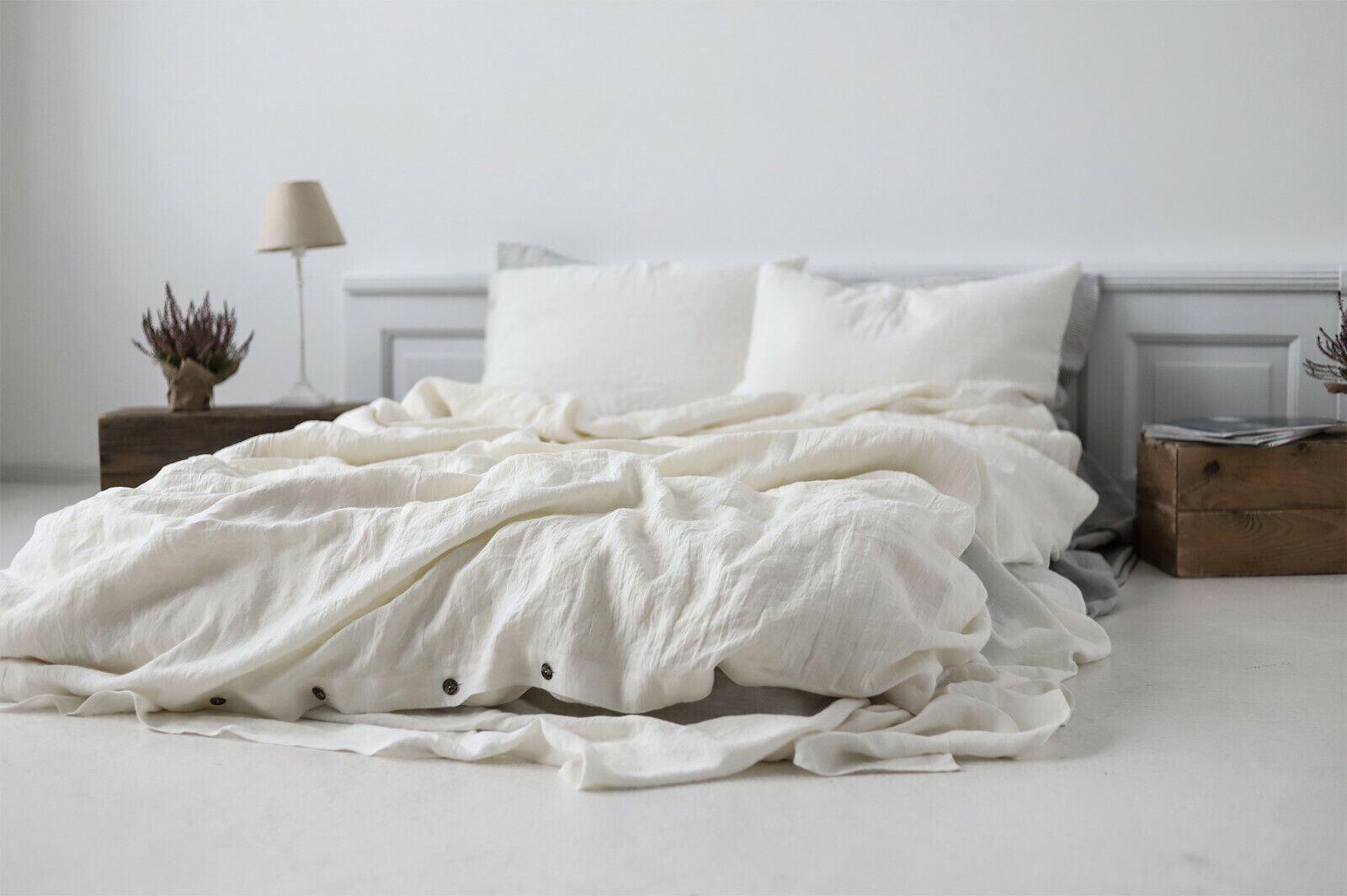 Off White Stonewashed Linen Bed Set
