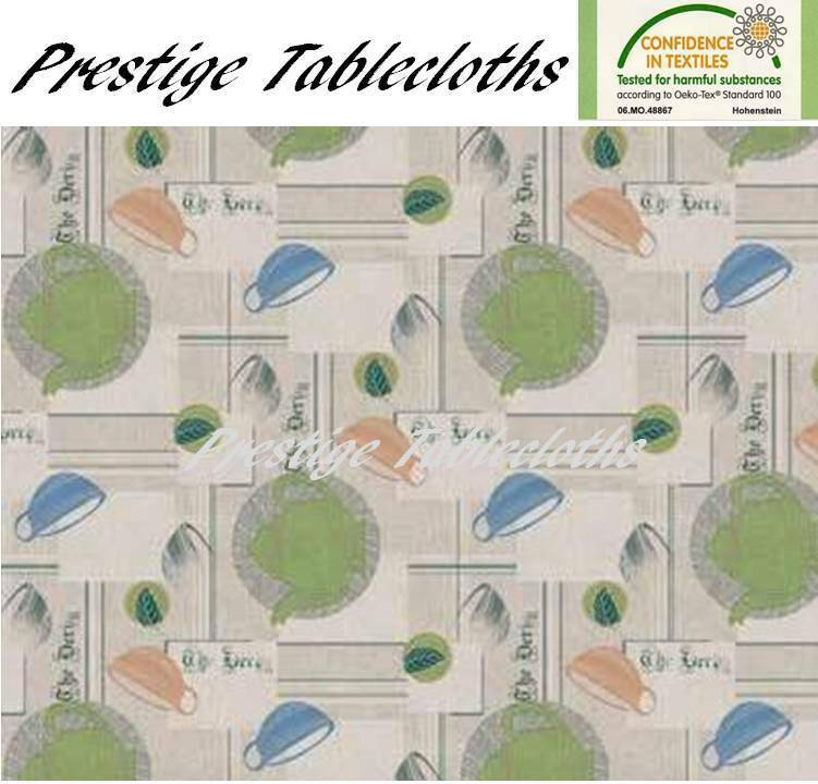 Teapot PVC Vinyl Wipe Clean Tablecloth - ALL SIZES - Code  F701-2