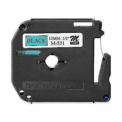 """Ptouch M-531 12mm NEW Brother M531 P-Touch Label Tape 1//2/"""" Black on Blue"""