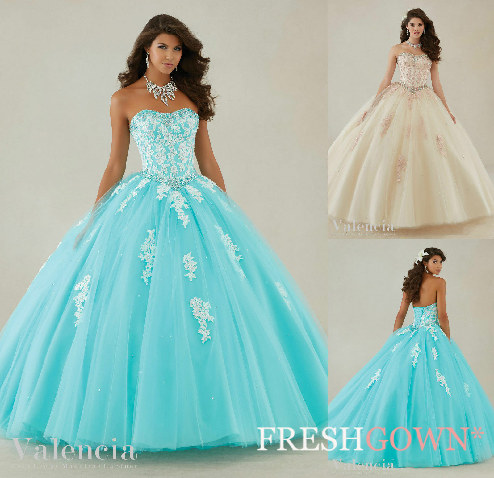 Lace Princess Evening Prom Quinceanera Pageant Party dress Dance Ballgown