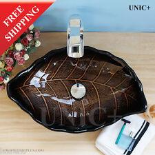 Hand Made Bathroom Leaf Shape Glass Sink  Vessel Sink Basin Single Bowl BVG006