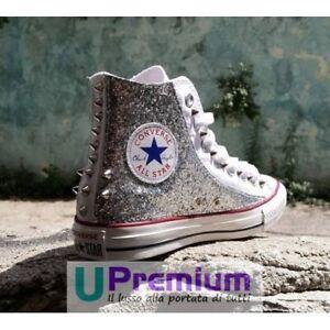 Borchia Glitter Scarpe Star Argento Borchie Customizzato prodotto Converse All 8ZwqnvqH