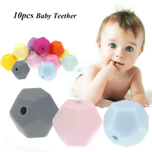 10pcs//lot Polyhedral Type Bead Silicone Baby Teether DIY Necklace Bracelet Beads
