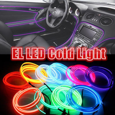 1//2//3M LED EL Wire Neon String Car Interior Floor Atmosphere Light Strip Decor