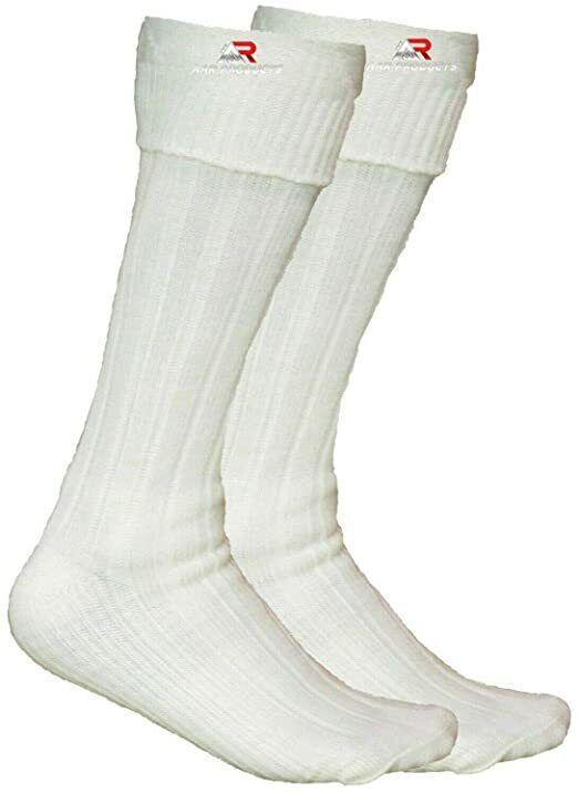 Scottish Irish Off White Kilt Hose Socks Men Size Large Sporrans Flashes New AAR