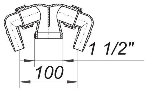 """Dallmer Doppel Anschluss Gerätesifon Waschgeräte Siphon Sifon 11//2/"""""""