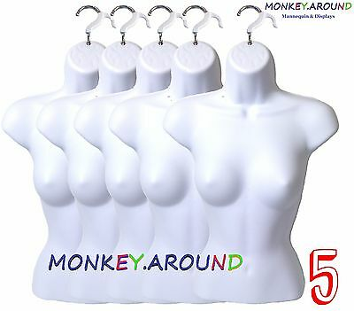 5-PACK Female Mannequin Form & Hanger, Body Displays Women Dress T-Shirt - WHITE