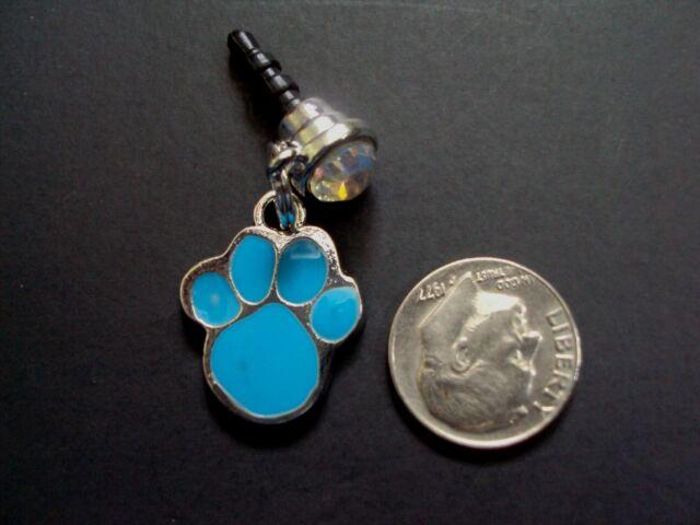 New Blue Paw Print Enamel Charm Cell Smartphone Jack Rhinestone Dust Plug 3.5 MM