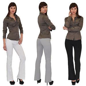 Großhandelsverkauf moderate Kosten Original- Details zu Damenhose Damen Business Stoffhose Bootcut Hose Schlaghose  Schlag Hüfthose H07