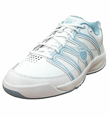 K-Swiss Boy's Optim IV Omni Leather Tennis Sports Trainers Shoes white/blue