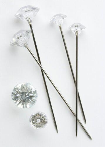 100 x Clear Diamante 6mm Pins Weddings Buttonholes Bridal Bridesmaid