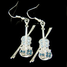 w Swarovski Crystal ~Navy Blue Violin~ Fiddle Viola Cello Music Musical Earrings