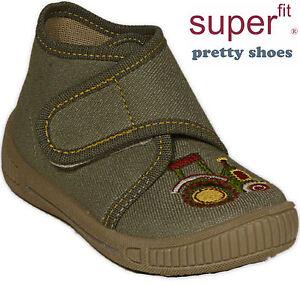 Details zu SUPERFIT Schuhe Hausschuhe grün m.Traktor BabyschuheTextil Klettverschluss NEU