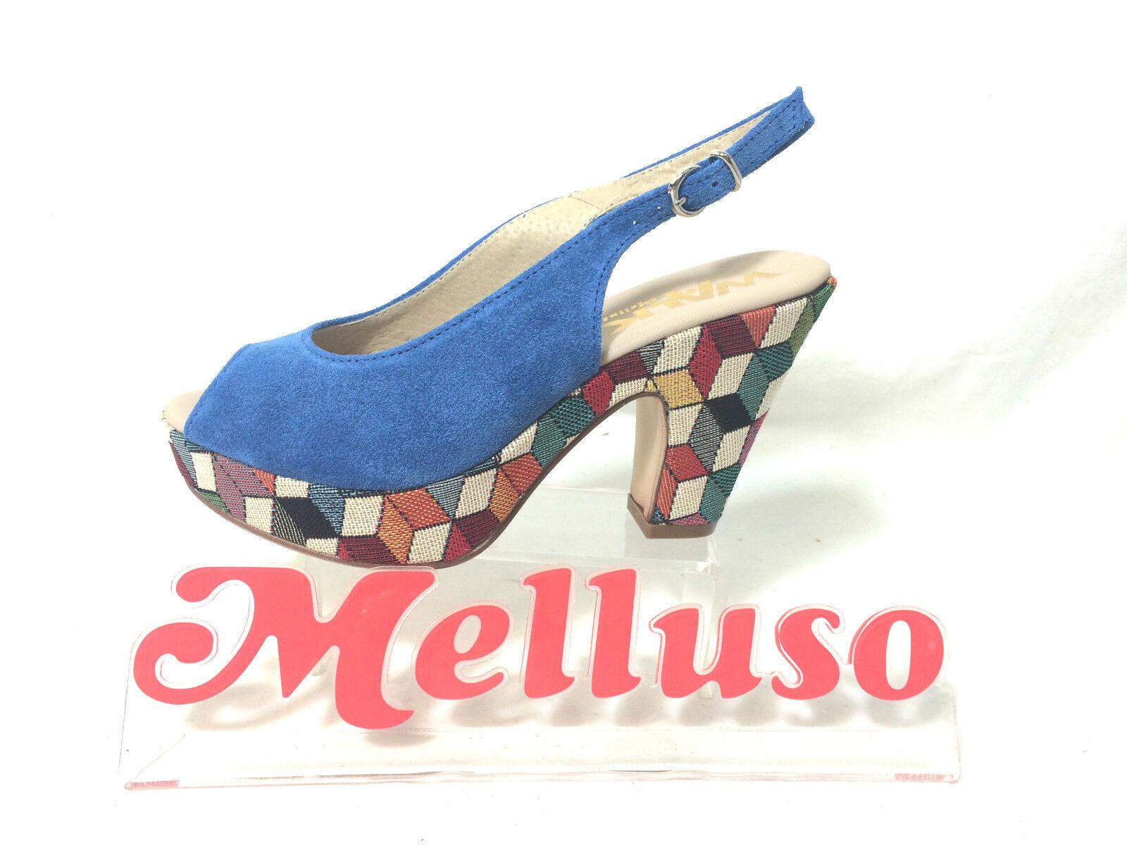 MELLUSO SANDALO SPUNTATO Damens CAMOSCIO BlauTTE TACCO H 9 CM MADE IN ITALY