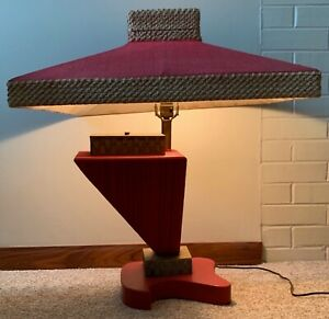 Rare Unusual Vintage 50s Red Lynard California Lamp Mid Century Modern Lighting