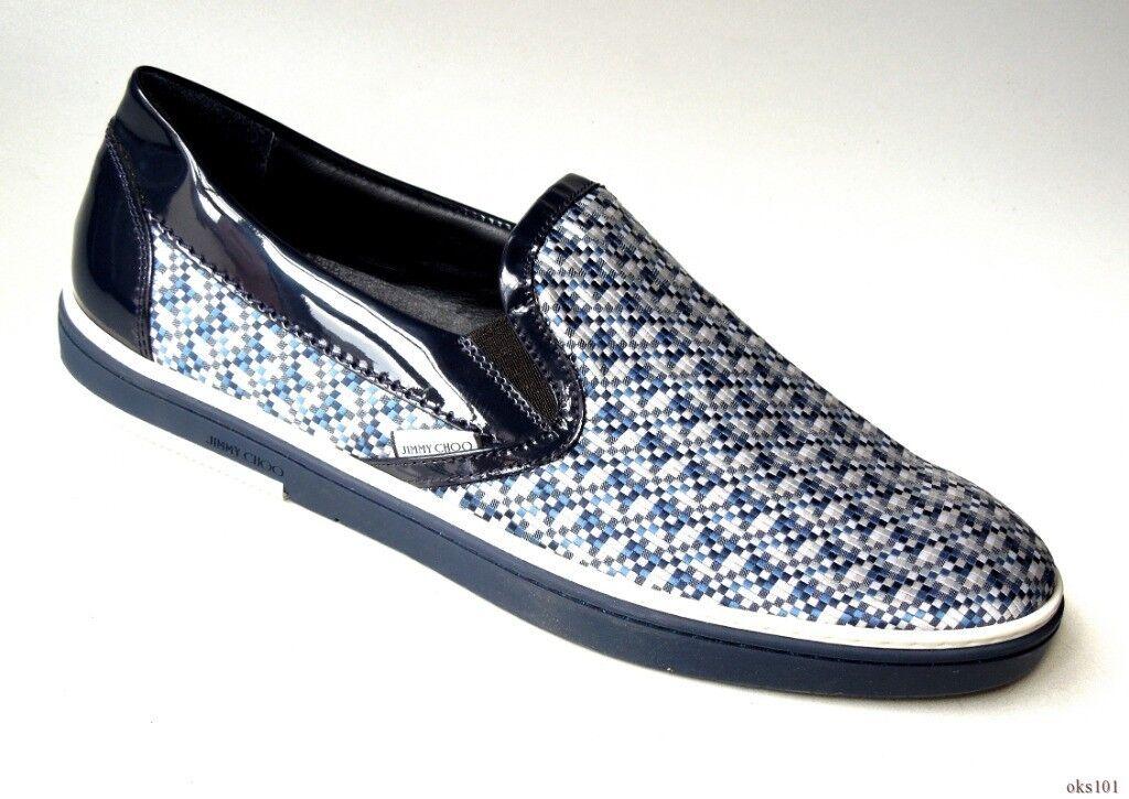 New  575 uomo JIMMY CHOO navy bianca mosaic LOGO Grove scarpe da ginnastica scarpe 43 US 10