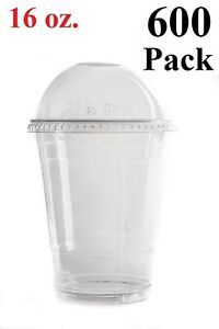 Plastic Cups with Dome Lids for Iced Coffee Milkshakes Smoothies 500 Set 12 Oz
