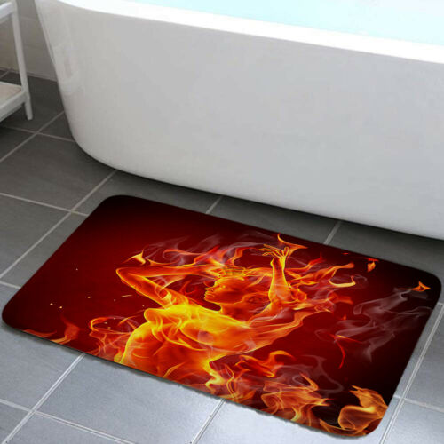 Burning flame goddess Shower Curtain Toilet Cover Rugs Bath Mat Contour Rug Set
