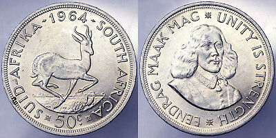 50 CENTS 1964 SUDAFRICA SOUTH AFRICA ARGENTO SILVER #4298A
