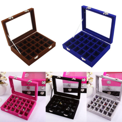 Velvet Glass Jewelry Earring Ring Display Organizer Box Tray Holder Storage Case