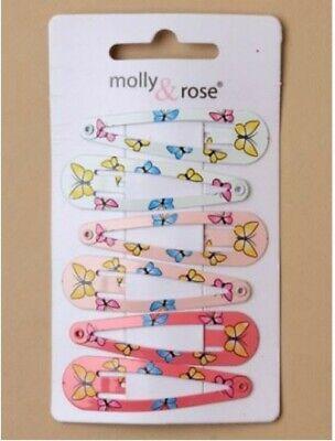 Donna Ragazze Bambini Confezione 6 5cm, Dormiglioni Capelli Clip Grip Rosa Bianco Farfalla-mostra Il Titolo Originale