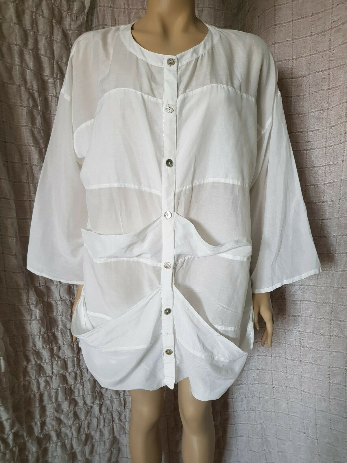 Bitte Kai Rand Weiß sheer cotton 3 4  sleeve buttoned shirt top tunic Größe XXL
