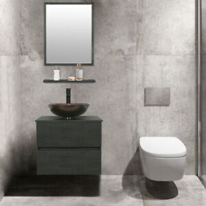 24 Bathroom Vanity Set Glass Vessel Sink Wall Mount Faucet Drain Concrete Grey Ebay