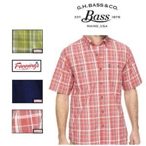 G-H-Bass-amp-Co-Men-039-s-Short-Sleeve-Button-Sun-Blocker-Wicking-Shirt-Variety-I33
