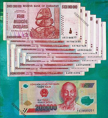 5 x 50 Million Zimbabwe Dollars AA 2008 1 x 200,000 Vietnam Dong Banknotes VND
