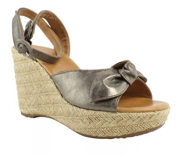 Paul Green Espadrille Wedge Leather Sandal Metallic Women Sz 4.5 UK 3434