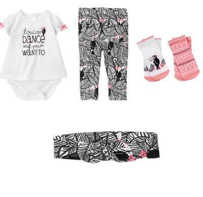 Gymboree Jungle Jam 12-18-24 mo Pelican Set Bird pink Socks 1-pce Headband Pants