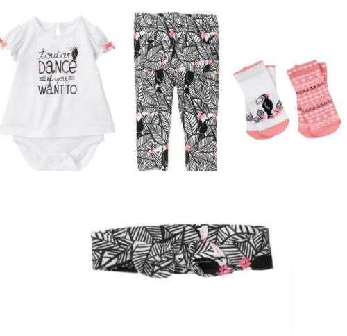 Gymboree Jungle Jam 12-18-24 mo Pelican Set Bird pink Socks 1-pce Headband Pants