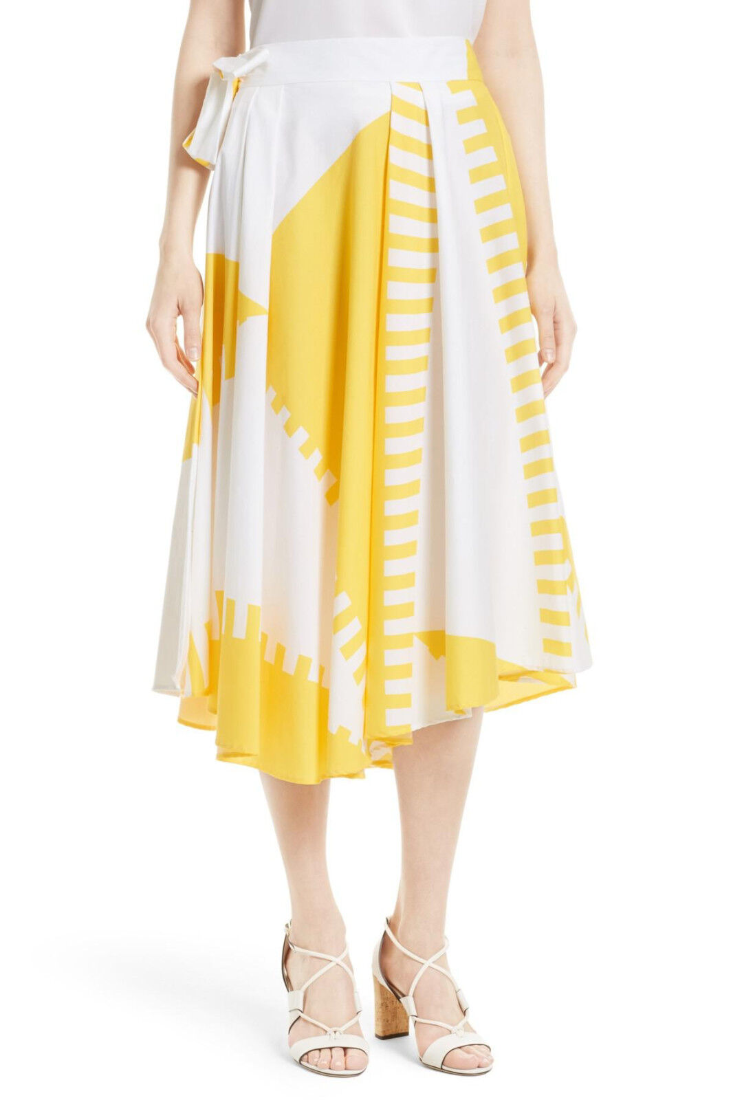 NWT MILLY Peyton Wrap Skirt Yellow White Women's 4  475