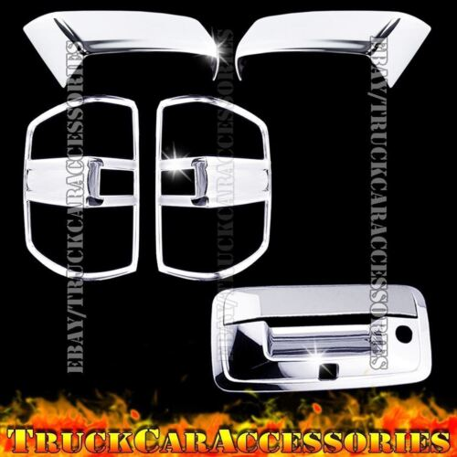 For Silverado+HD 2014 2015 2016 Chrome Covers Mirrors+Tail Lights+Tailgate Cam