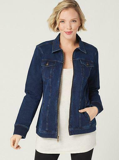 Denim & Co. Comfy Knit Denim Zip-Front Jean Jacket, Dark Indigo Wash, Large
