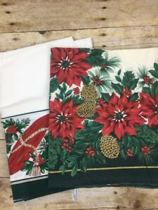 Lot-of-2-Sunweave-Linen-Corp-Holiday-Poinsettia-Design-New-60-x-84-Green-White