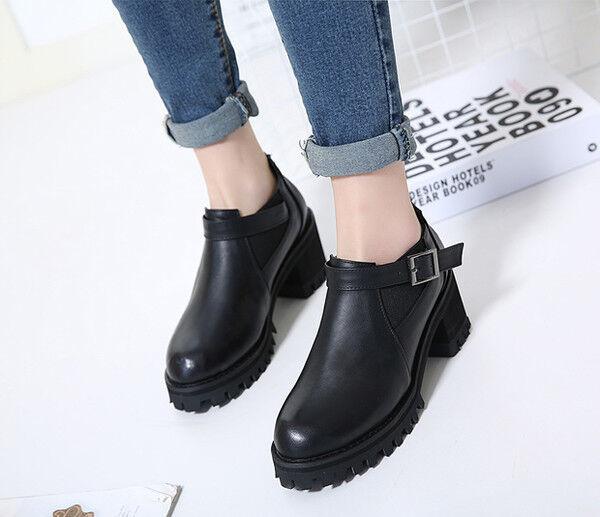 botas botas militares bajo cómodo 6.5 cm negro deporte como piel CW760