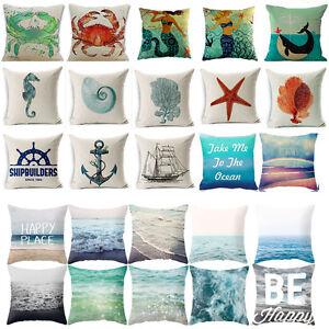Image Is Loading Ocean Beach Marine Animal Cotton Linen Throw Pillow