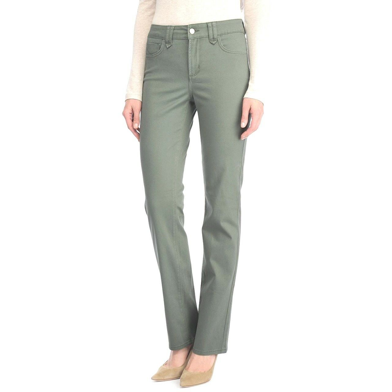 NEW NYDJ Not Your Daughters Jeans pant HAYDEN Straight pinkmary green 6P stretch