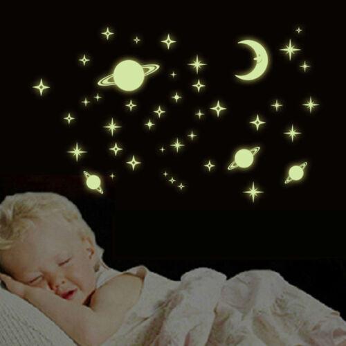 Creative Star of The World Moon Luminous Fluorescent PVC Wall Stickers Decor