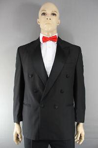 Schneidig Ex Hire Wool Blend Double-breasted Black Formal Tuxedo Dinner Jacket 42 In (reg) Durchblutung GläTten Und Schmerzen Stoppen