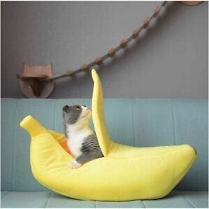 Lit en forme de banane pour animaux chat chien confortable mignon couleur jaune