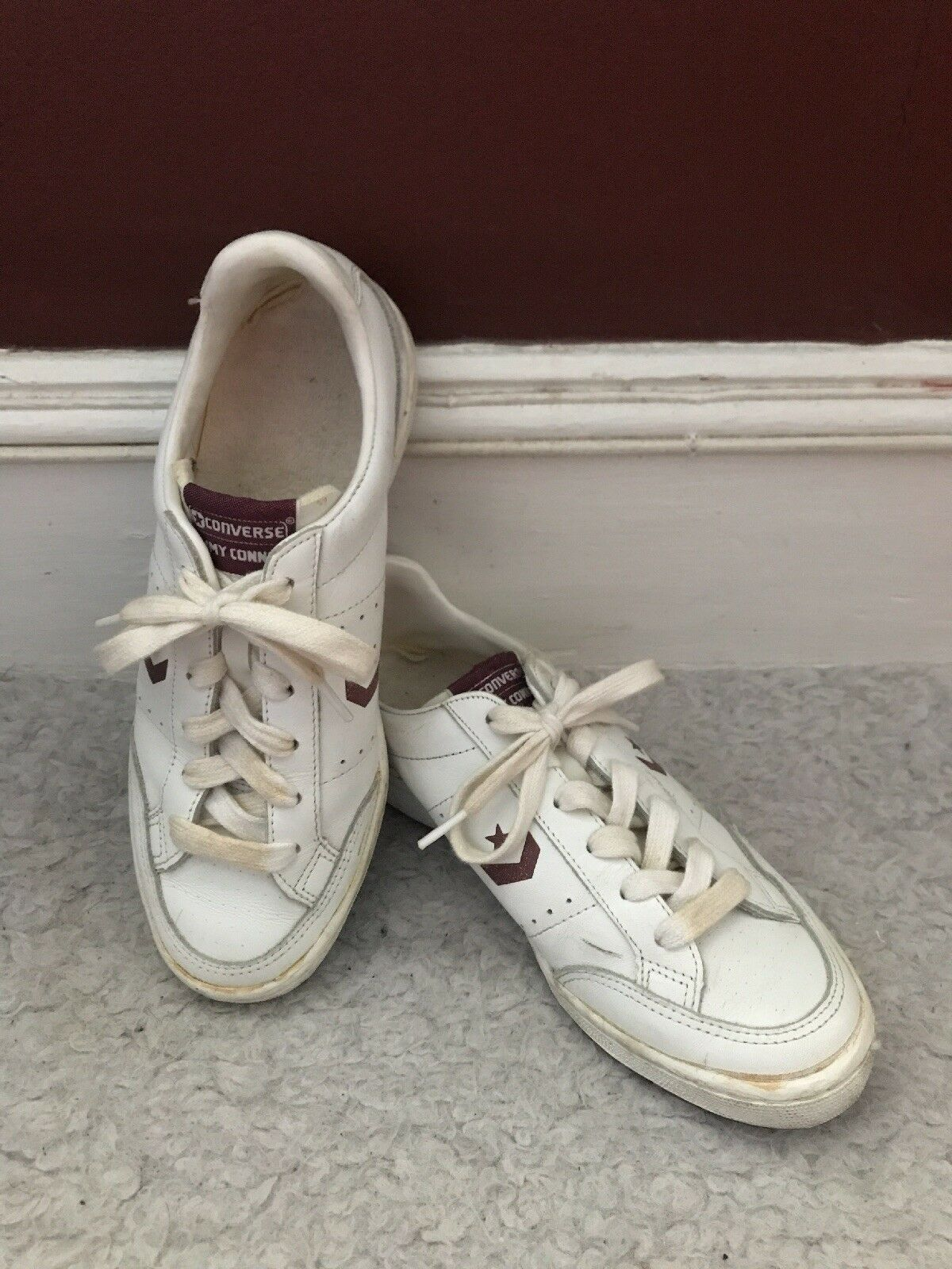 Vintage Jimmy Connors Converse All Star 7M 1980's Niedrig Top Größe 7M Star WEISS/Burgundy a80ad3