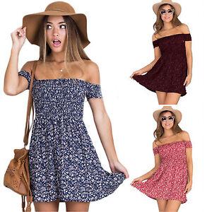 Women-Summer-Off-Shoulder-Boho-Floral-Dress-Casual-Beach-Short-Mini-Sundress