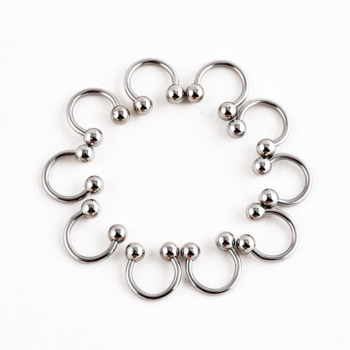 10 Pcs Stainless Steel Horseshoe Bar Lip Nose Septum Ear Ring Stud Body Piercing