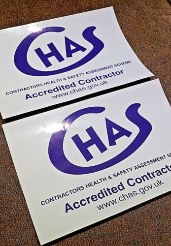 TRANSPARENT BACKED STICKERS FOR YOUR VAN OR VEHICLE CHAS ACCREDITED CONTRACTOR