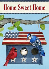 "Patriotic Living Spring Garden Flag Blue Jay Cardinal Birdhouse 12.5"" x 18"""