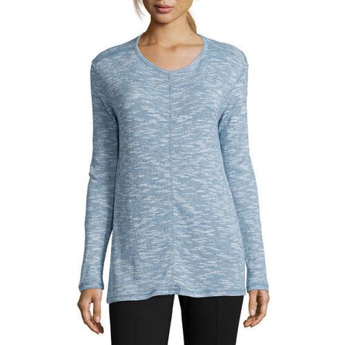 1X John/'s Bay Long-Sleeve Textured Tunic Size XL St 3X New Blue Magic