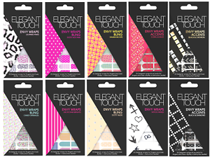 ELEGANT-TOUCH-Envy-Wraps-Self-Adhesive-Nail-Wraps-Pack-of-18-CHOOSE-DESIGN