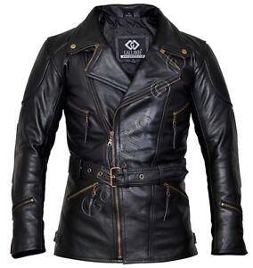 8125555bcb6 Eddie Black 3/4 Mens Motorcycle Biker Long Leather Jacket quarter ...